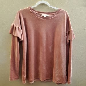 Two by Vince Camuto Pink Velvet Blouse